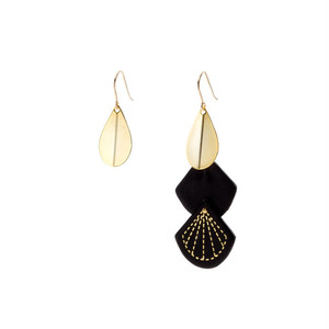 Leather & Metal Hooks - Teardrop Shape Black