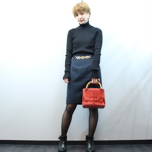 2000000026992 CELINE CHAIN DISIGN TIGHT SKIRT MADE IN FRANCE/セリーヌチェーンデザインタイトスカート