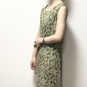 【USED】ノースリーブ 花柄 レーヨン ロング ワンピース グリーン