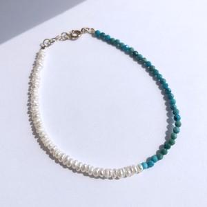 K10YG Turquoise x  Baroque Pearl Bracelet / チャリティージュエリー