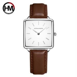 本革ストラップ日本クォーツムーブメントHM-108女性シンプルなデザインのトップの高級ブランド腕時計レディーススクエア腕時計108PZ4