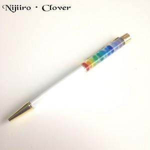 【虹色】ガラスの華やかなボールペン