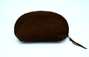 Yezo deer soft pouch tanned dark brown