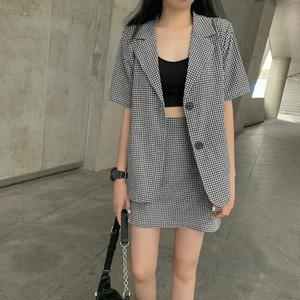 ギンガムチェック半袖ジャケット+Aラインスカート S4141