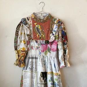Hand made remake patchwork frill dress