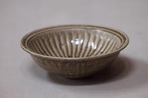 余宮隆 灰釉縁付鎬鉢