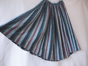 ~70's America vintage nep cotton stripe gather skirt