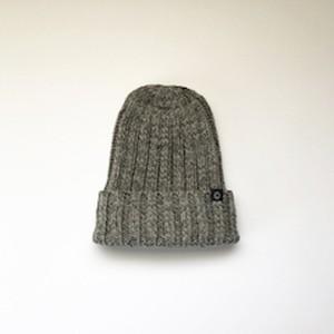 手横編機で作った ローゲージ ニット帽(グレー)