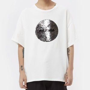 【HIPANDA】メンズ Tシャツ MEN'S 2WAYS HIPANDA LOGO SEQUINS SHORT SLEEVED T-SHIRT / WHITE