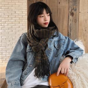 【ファッション小物】イングランド風秋冬レトロチェック柄タッセル飾りベっちんマフラー
