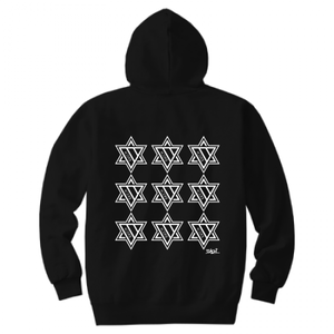 ERICH / NINTH HEXAGRAM HOODED SWEATSHIRT BLACK