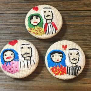 シリア刺繍のくるみボタン +ユーフラテス河のほのぼのカップル+ made by Syrians