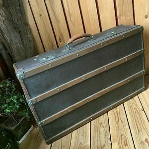 ≫50-60'sヴィンテージ*古い木張りの大きなトランクケースW75.5cm*本革レザー使い*英国イギリスアンティークスタイル*大型収納ビンテージ