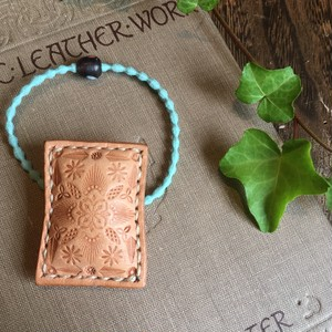 mandala leather hair tie
