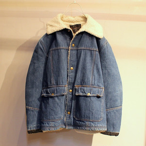 70s CARTERS ''RINGER'' DENIM BOA JACKET UT-463