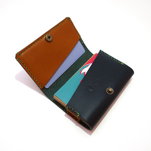 Business Card Case -Blue x Camel-