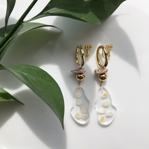 【イヤリング】Gold clear parts earring