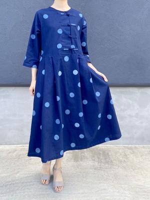チャイナデザインワンピース【藍染水玉】