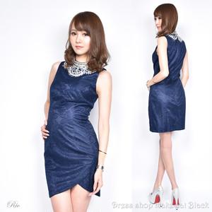 SALE (Sサイズ) ミニドレス  ビジュー刺繍 ドレス パーティー フレアミニキャバドレス 二次会 4733