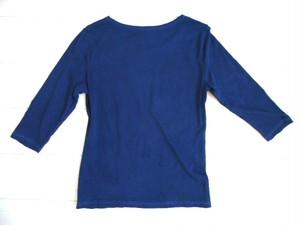 ◆100%自然素材 天然灰汁発酵建て 本藍染◆ オーガニックコットン 7分袖Tシャツ(レディース)