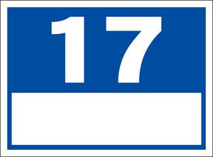 シンプル看板「番号票17(白窓付)」屋外可・送料無料