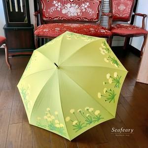 【晴雨兼用傘UV】手描き・たんぽぽの気分♡グリーン