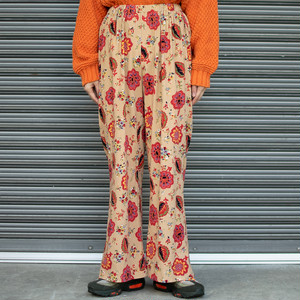 Patterned Corduroy Flare Pants