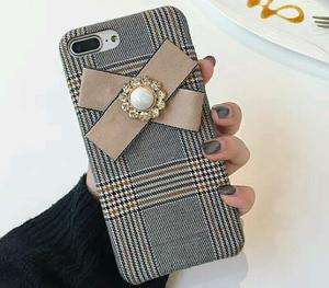 【予約商品、送料無料】グレンチェックのケースにリボン付iPhoneケース