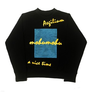 mohumohu print  sweat shirt Black