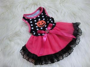 ★かわいい犬服ワンピ/ドレス  ハロウィンドットチュチュドレス