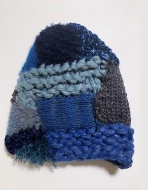 棒針編みのfreeform knitting 帽子