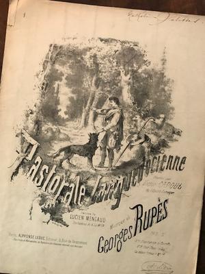 表紙デザインが素敵!古い楽譜 Pastrale Languedocienne(フランス)