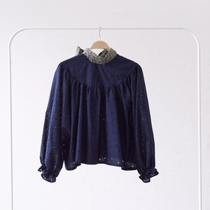 back ribbon gather blouse〈Dark blue・ブラウス〉
