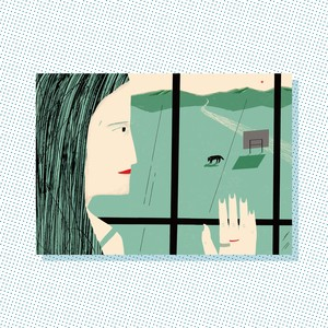 A3 Print: A woman is watching a wild animal.