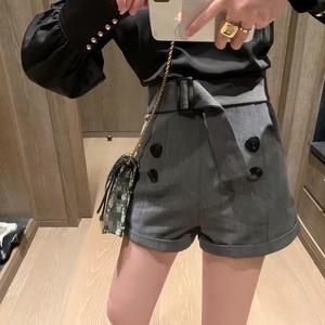 high waist belt short pants