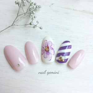 ニュアンスフラワー×ストライプ 紫
