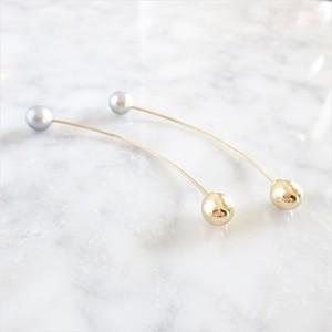 14kgf*Freshwater pearls arrow pierced earring(SV+GLD)