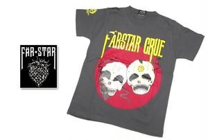 激レアロックTシャツ|FAR★STAR|新品|ガイコツ(スカル)デザインTシャツ(グレー)|サイズ:0