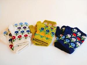 ウール 指出し 手袋 花柄  各種