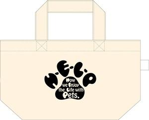 H-E-L-P・ミニトートバック(生成り×ブラック)with 缶バッジ・ストラップ・キーホルダー