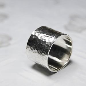 シルバーフラットリング 15.0mm幅 槌目 3号~27号|WKS FLAT RING 15.0 sv hammer|FA-360