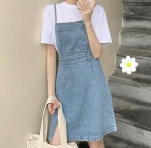 バックスタイルも可愛い♡ デニム サロペット スカート シンプル