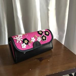 オヤ刺繍の長財布 ピンク×黒