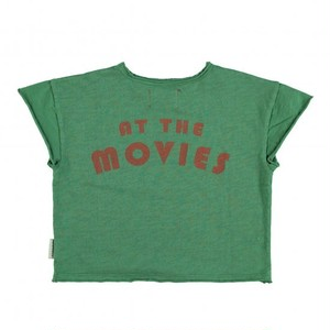 "【piupiuchick】Organic t'shirt . jersey flammegreen w/ multicolor & ""at the movies"" print (SS21.FLP2109B)"