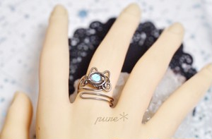 宝石猫のリング*ラブラドライト/チタン【受注生産】