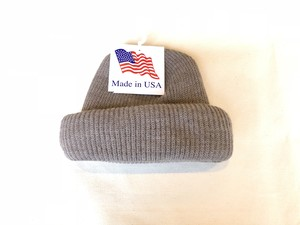 KNIT CAP MADE IN USA - BROWN HETHER