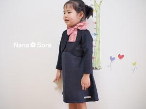 入園式・卒園式・入学式のスーツ♪CA風ネイビーのワンピースとボレロのセットアップ 花柄スカーフ付き