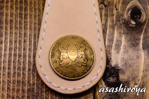 コインコンチョのヌメ革キーホルダー