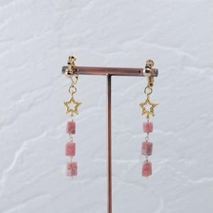 アルゼンチン産インカローズと星のイヤリング