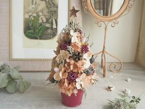 Arbre de  Noël<French  mauve>*クリスマスツリーアレンジメント*プリザーブドフラワー* 花*冬の贈りもの準備*2018*1点もの
